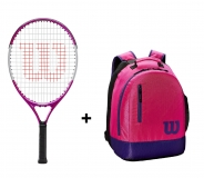 Kinder Tennisschläger Wilson Ultra Pink 21 + WIlson Youth Backpack pink