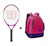 Kinder Tennisschläger Wilson Ultra Pink 23 + Kinderrucksack Wilson Youth Backpack pink