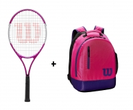 Kinder Tennisschläger Wilson Ultra Pink 25 + WIlson Youth Backpack pink
