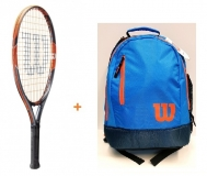 Kinder Tennisschläger Wilson BURN Team 21 + WIlson Youth Backpack blau-orange