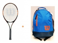 Kinder Tennisschläger Wilson Burn Team 25 + WIlson Youth Backpack blau-orange