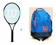 Kinder Tennisschläger Wilson Ultra Team 25 2019 + WIlson Youth Backpack blau-orange