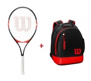 Kinder Tennisschläger Wilson FEDERER 25 + Kinderrucksack Wilson Youth Backpack rot